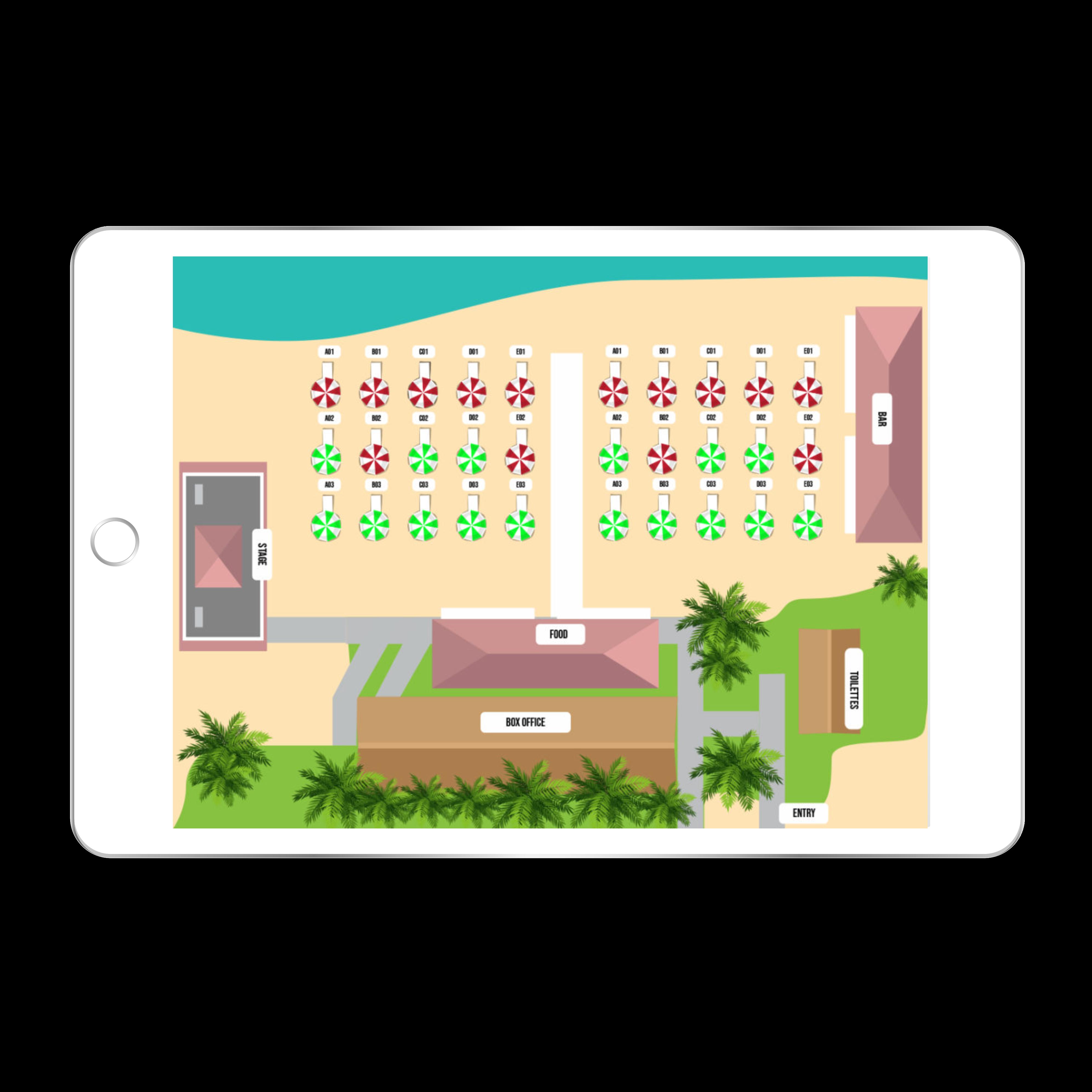 app tablette bar plage